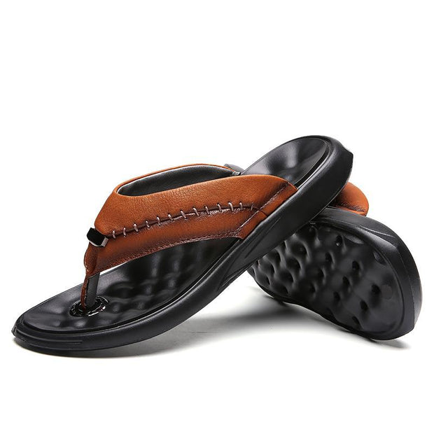 Men's Flip Flops Genuine Leather Luxury Slippers Beach Casual Sandals for Men Plus Size 46 128241