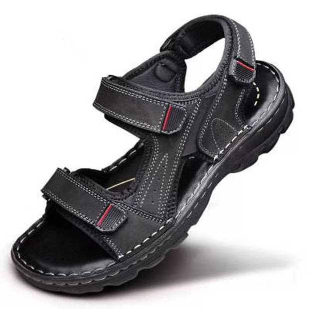 Men's sandal leather leisure breathable shock absorption with open toe beach