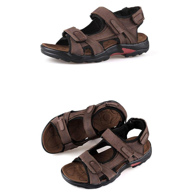 Men's first layer leather beach shoes open toe slip summer handmade large size sandals outdoor