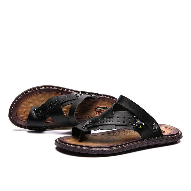 Men's Leather Sandals Summer Beach Slippers Outdoor Flip Flops Rubber Slippers Comfortable