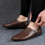 Men's casual shoes soft surface soft bottom lazy one foot peas shoes The first layer of leather  133357
