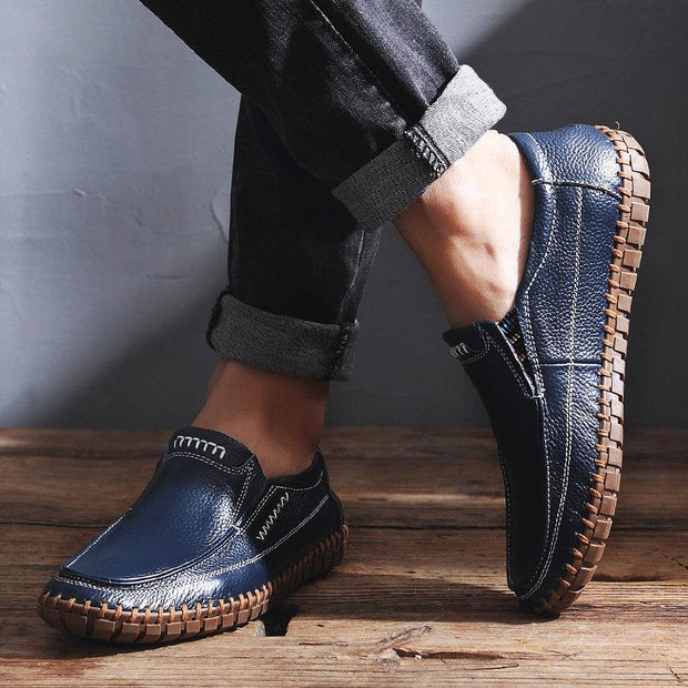 Men Hand Stitching Comfy Soft Sole Slip On Leather Loafers