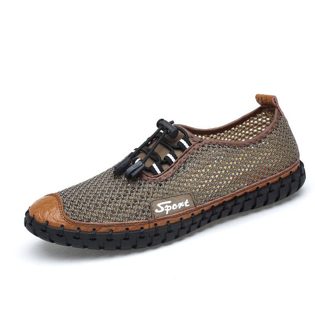 Men Hand Stitching Honeycomb Mesh Soft Sole Casual Shoes