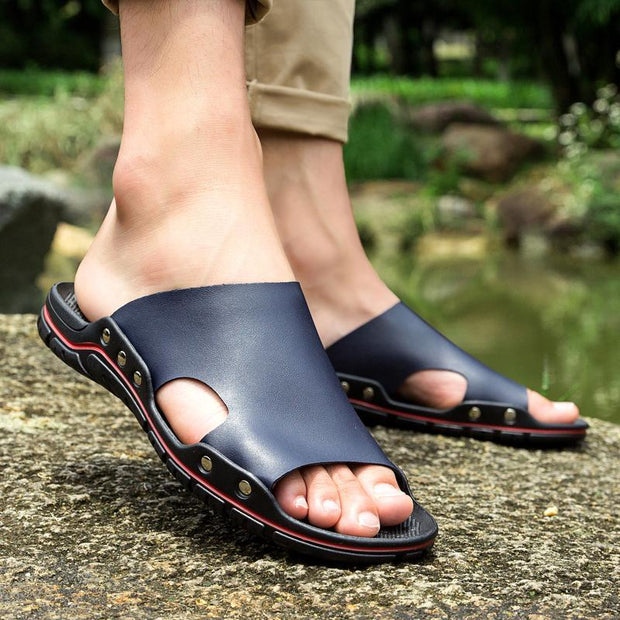 Men's outdoor flip flops leather slippers beach sandals wading old shoes 134129