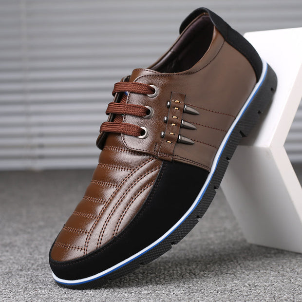 Men Genuine Leather Splicing Non-slip Soft Casual Driving Shoes
