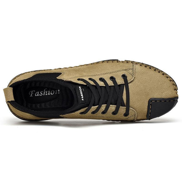 Men's Suede Genuine Leather Hand Stitching Flats