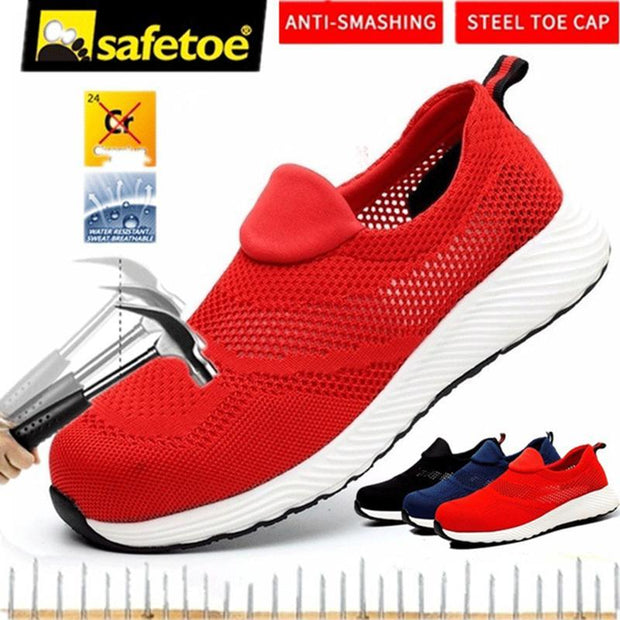 136648 Men Breathable Lightweight Work Shoes Steel Toe Cap Casual Safety Shoes Walking Protective Shoes