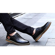 Men's Casual Cowhide Leather Lace-up Shoes