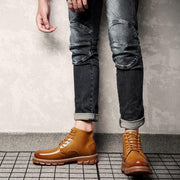 Men's New Trend Leather Breathable Non-Slip Rhubarb Boots