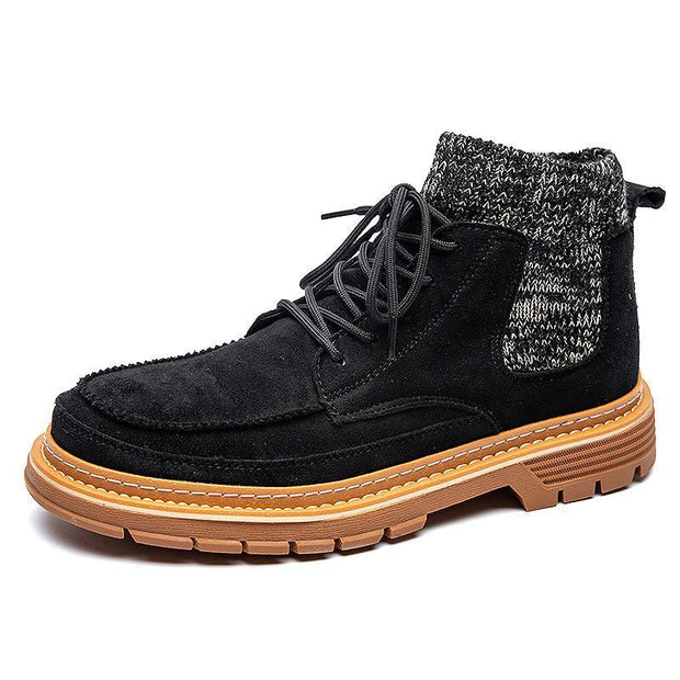 Men's Korean Version Of The Tide Fashion Retro Socks Mouth Wild Leather Ankle Boots