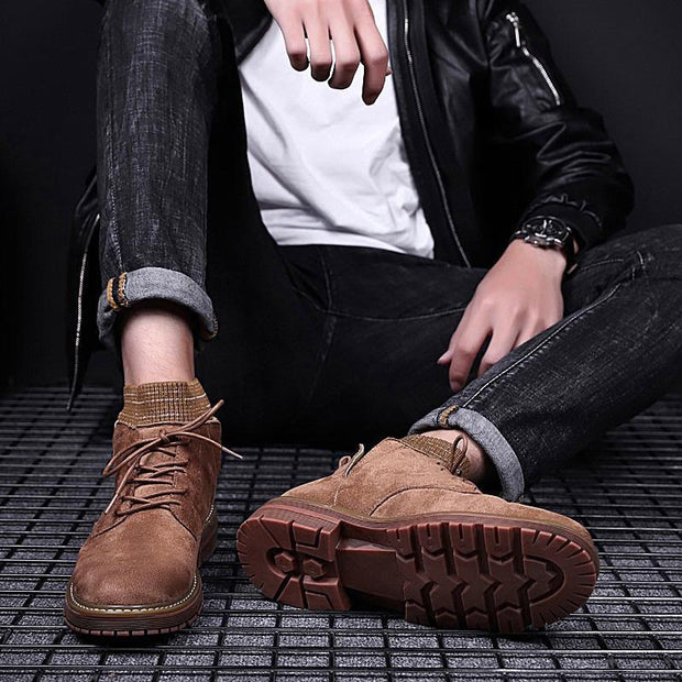 Men's new wave British high-top leather retro tooling socks shoes