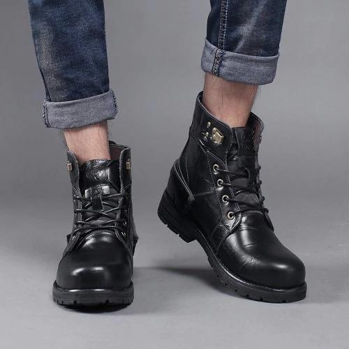 Men Genuine Leather Boots Men Old Fashion Ankle Boots