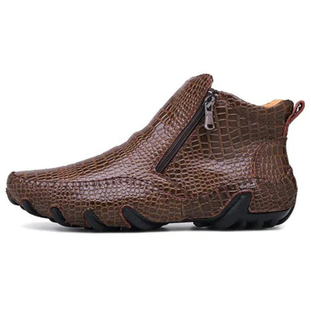 Men's Large Size High Top Casual Crocodile Pattern Shoes