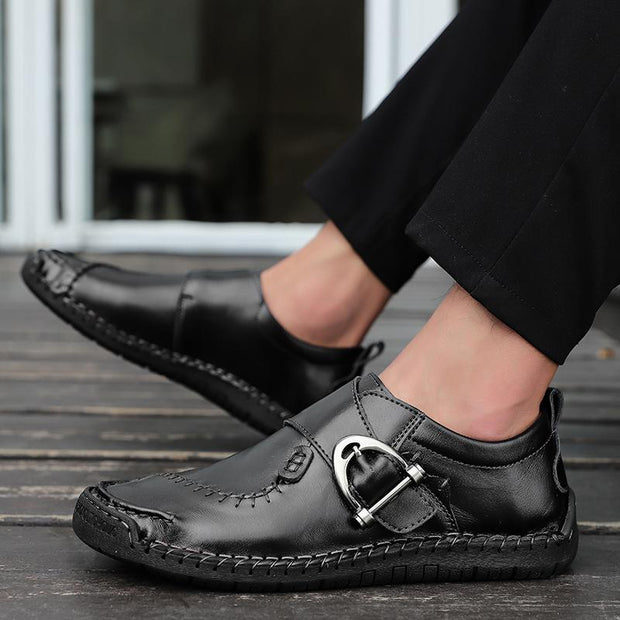 Men Soft Hand Stitching Cow Leather Hook Loop Casual Shoes
