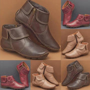Women's Leather Boots Side Zipper Warm Mid-heeled Shoes