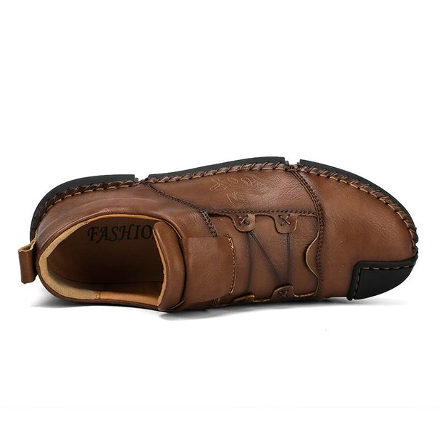 Men comfortable fashion leisure sewing leather shoes
