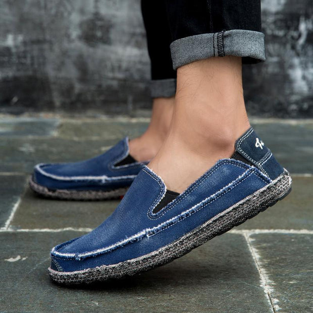 Men breathable joker canvas casual shoes retro slip-on shoes