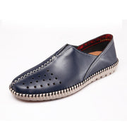 Men's comfortable breathable hollow out recreational leather shoes