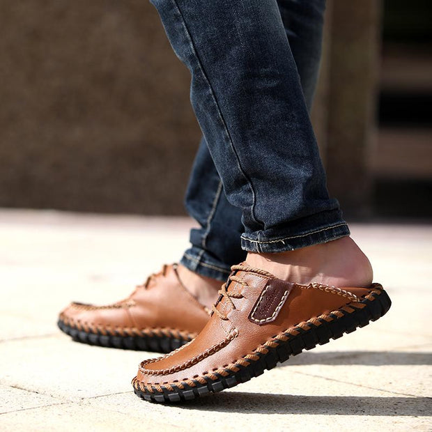 Men's casual breathable sewing leather shoes