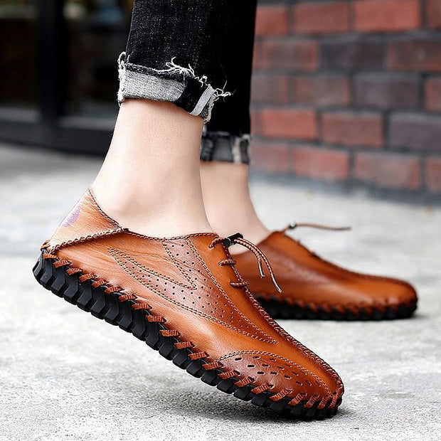 Men breathable comfortable sewing recreational leather shoes