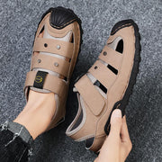 Men's casual handmade leather sandals and comfortable shoes