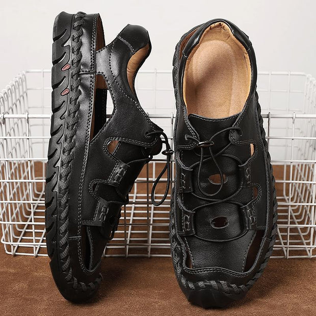 Men handmade leather sandals and comfortable retro shoes