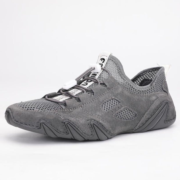 Men's comfortable breathable leather  casual mesh shoes