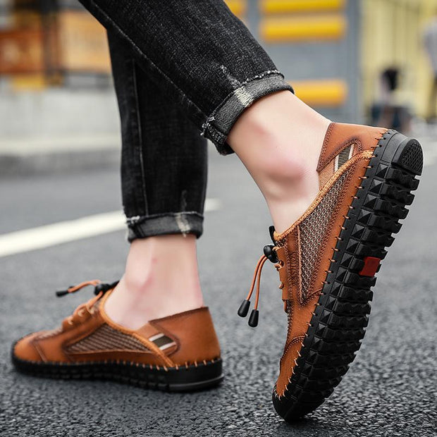 Men's comfortable casual shoes with leather surface handmade leather sandals