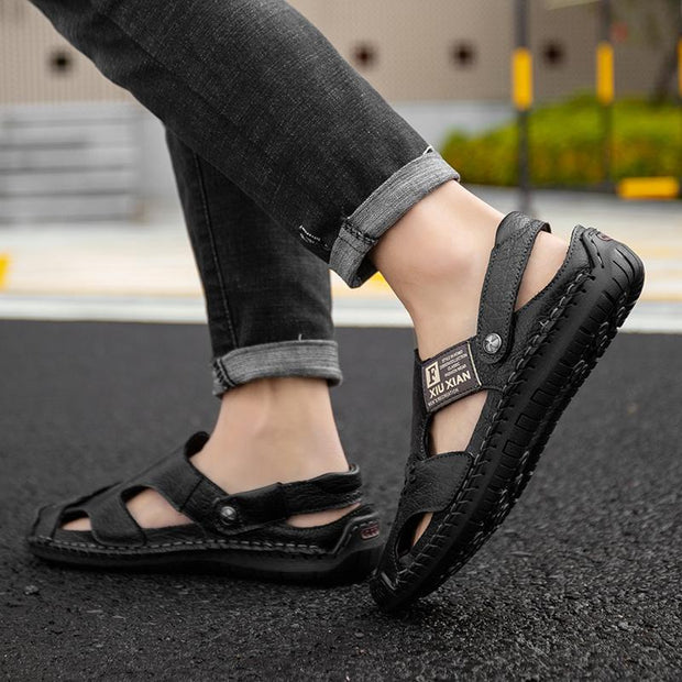 Men's leather fashion sandals big yards leisure slippers head layer cowhide outdoor men's shoes