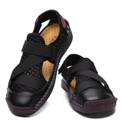 Men's shoes  Men Cow Leather Mesh Splicing Non Slip Hook Loop Casual Sandals