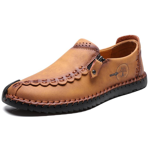 Men's  Non Slip Color Blocking Soft Sole  Hand-sewn Casual Leather Shoes