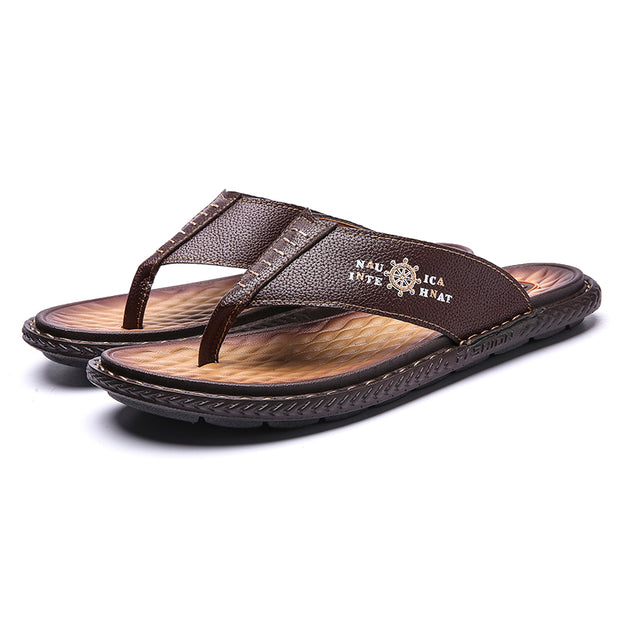 Men's Leather Slip Resistant Soft Casual Beach Slippers