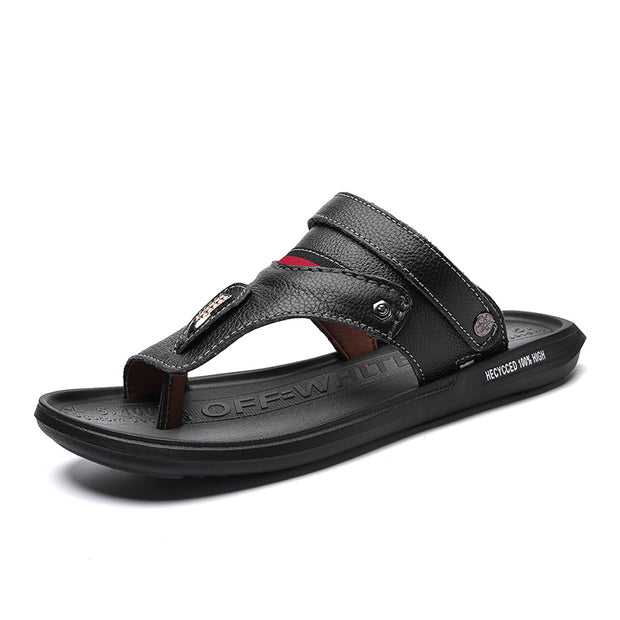 Men's Leather Slip Resistant Metal Buckle Casual Beach Sandals