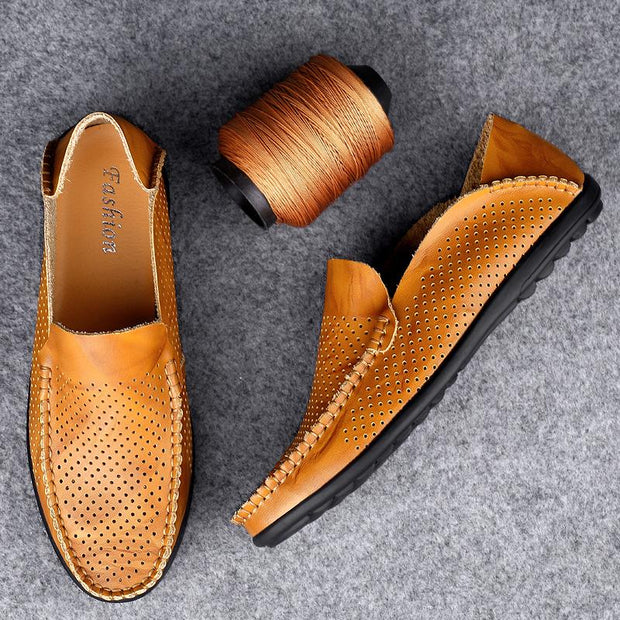 Men's Hole Breathable Soft Driving Leather Loafers