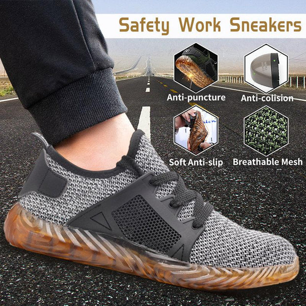 Men Steel Toe Cap Mesh Breathable Anti Smash Puncture Work Safety Shoes