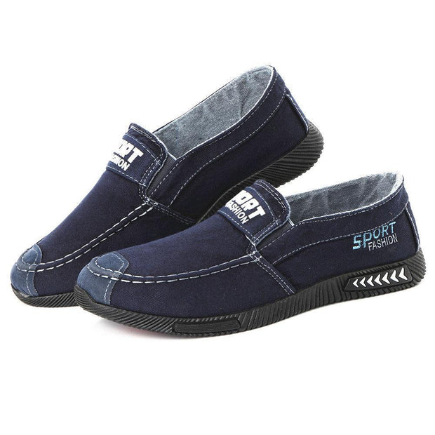 Men Washed Canvas Comfy Low Top Soft Slip On Casual Flats