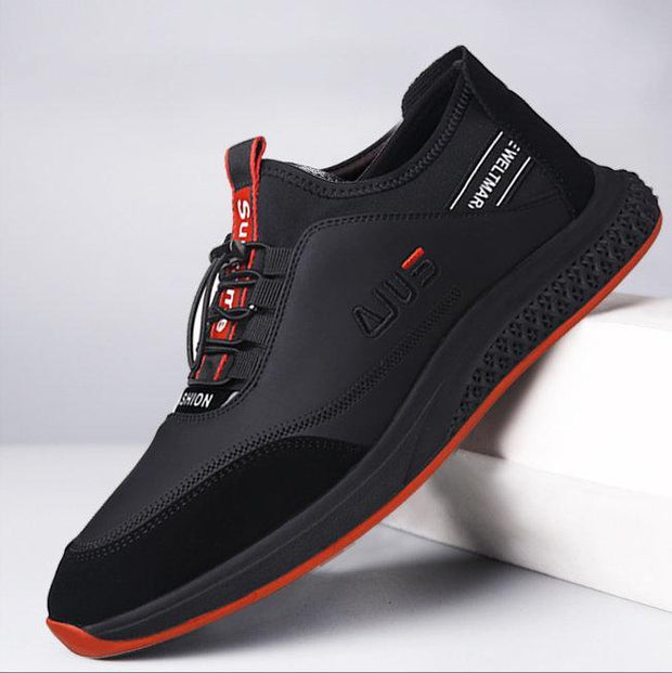 Men Microfiber Leather Adjustable Elastic Lace Up Casual Sneakers