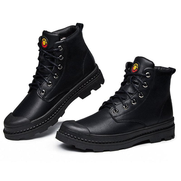 Men Rubber Toe Bumper Outdoor Slip Resistant Leather Waterproof Ankle Boots