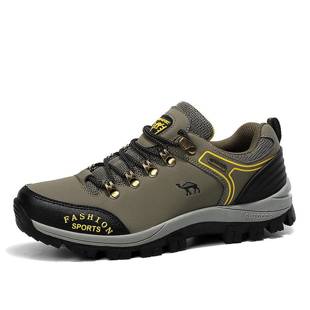 Men Outdoor Slip-Resistant Comfy Microfiber Leather Lace Up Soft Hiking Shoes