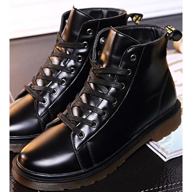 Men Leather Lace-Up Ankle Boots