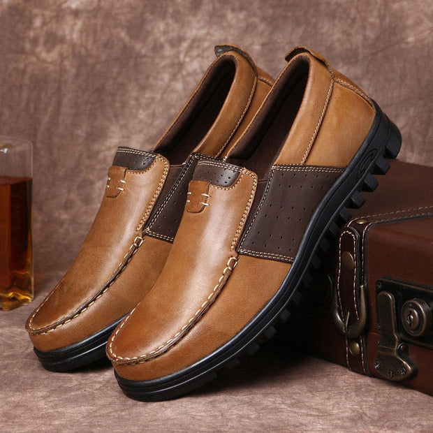 Men Comfy Moccasin Toe Leather Splicing Soft Casual Shoes
