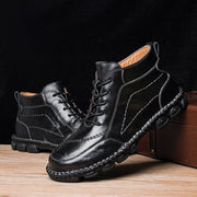 Men Cow Leather Non Slip Hand Stitching Casual Outdoor Boots