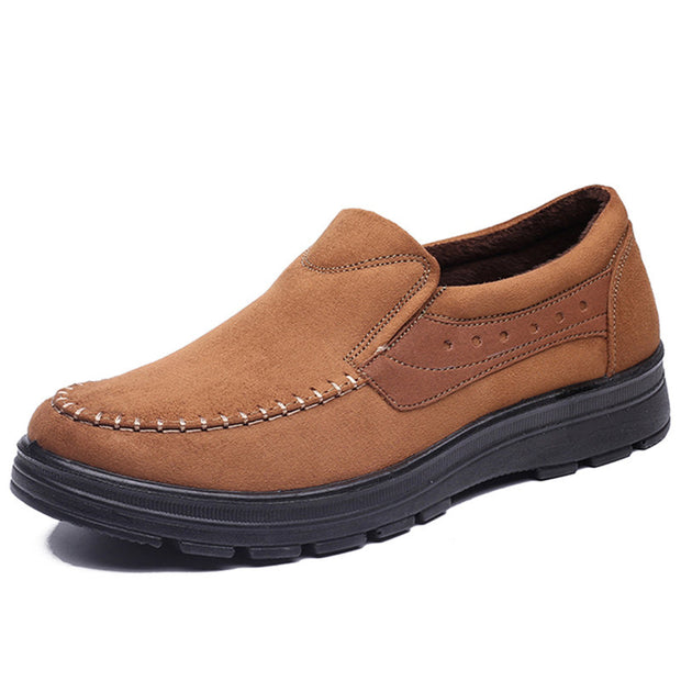 Men's Cloth Hand Stitching Slip On Warm Lining Casual Shoes
