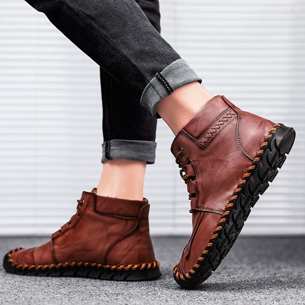 Men's shoes leather shoes leather casual shoes  large size shoes handmade stitching