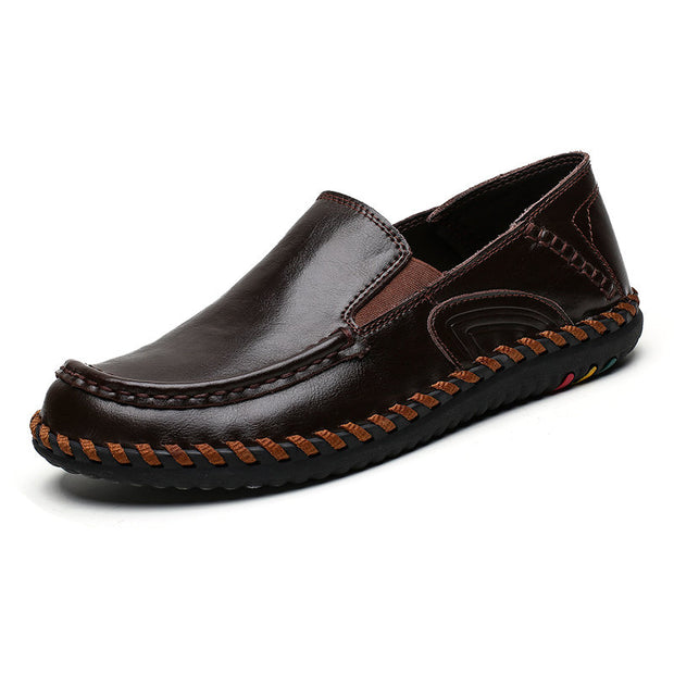 Men's Cow Leather Hand Stitching Non Slip Slip On Casual Shoes