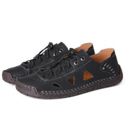 Men's Hand Stitching Non Slip Hollow Out Soft Sole Casual Leather Sandals