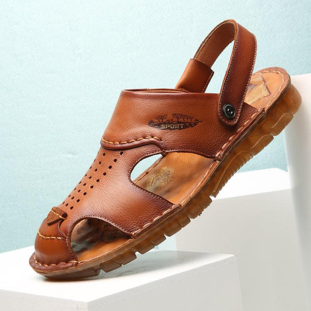 Men's Hole Genuine Leather Non Slip Soft Sole Casual Beach Sandals