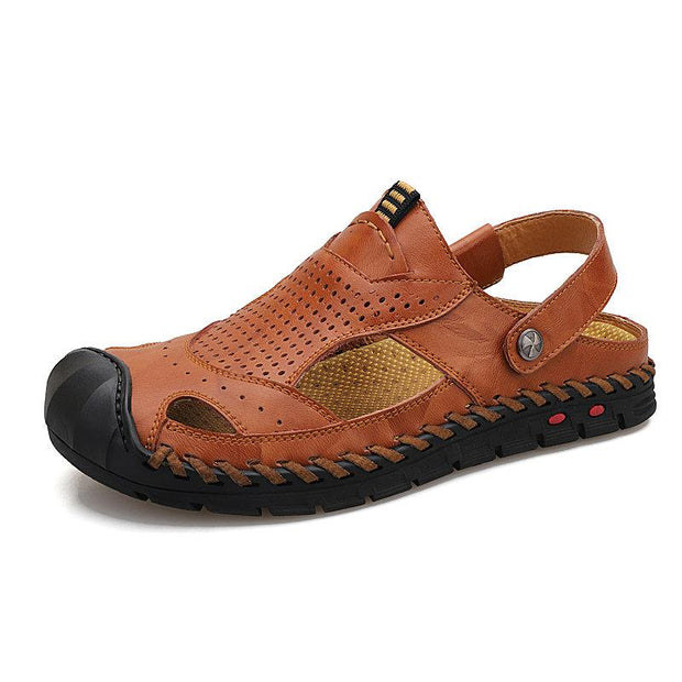Men's Outdoor Anti-collision Toe Slip Resistant Soft Leather Sandals