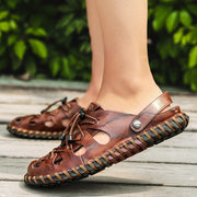 Men's Hand Stitching Adjustable Heel Strap Super Soft Leather Sandals