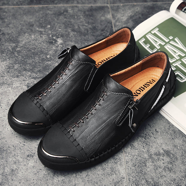 Men's breathable round head Vintage Hand Stitching Comfort Soft Leather shoes